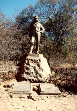Viktoriiny vodopády - D. Livingstone - socha