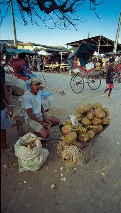 Prodej kokosových ořechů, Madagaskar