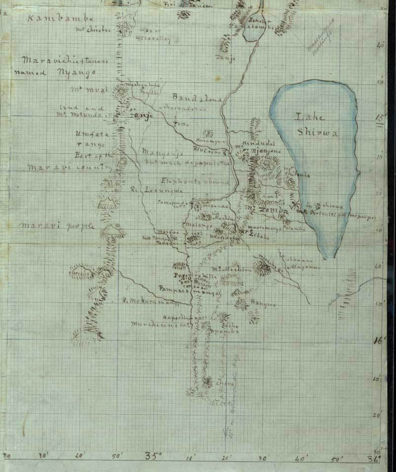 Mapa od Livingstona - okolí jezera Shirwa (Chilwa, Malawi)
