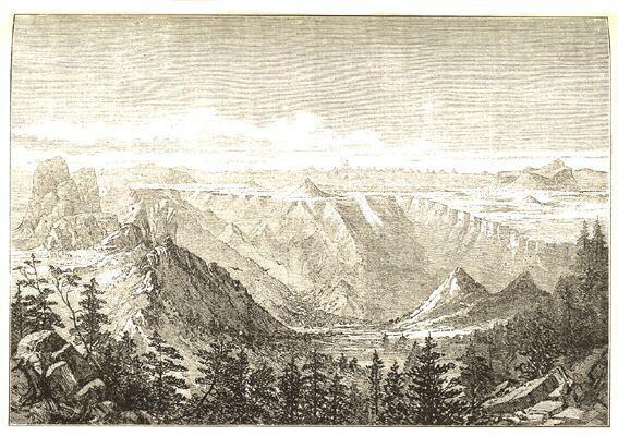 Pohled s vysočiny Senefské na hory v okolí Adouy