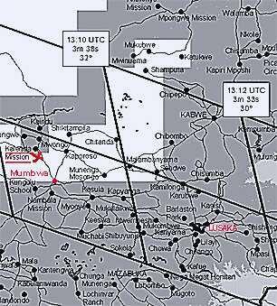 Zatmění 2001 - mapa