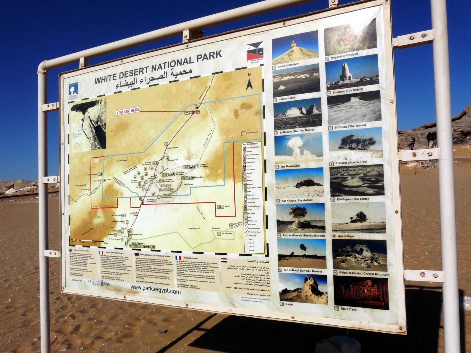 Mapka národního parku Bílá poušť