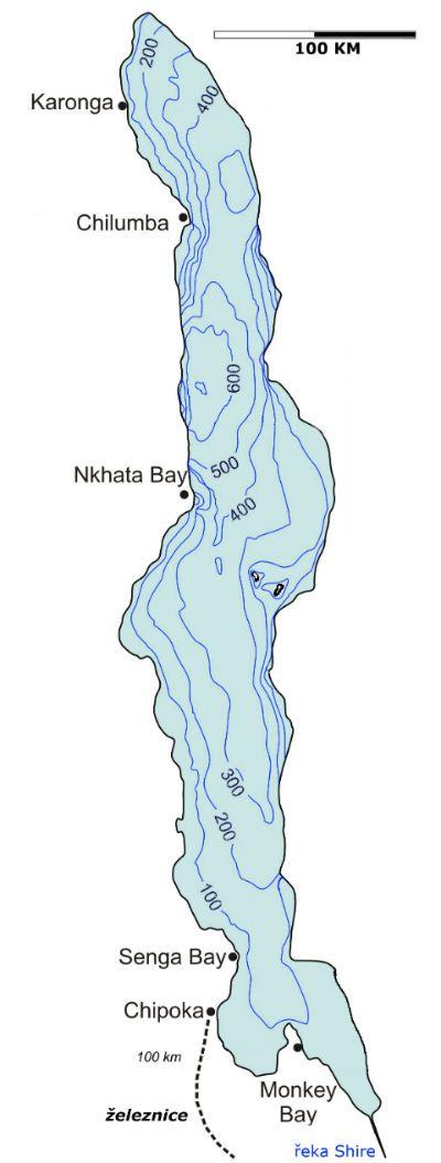 Jezero Malawi - batymetrická mapa