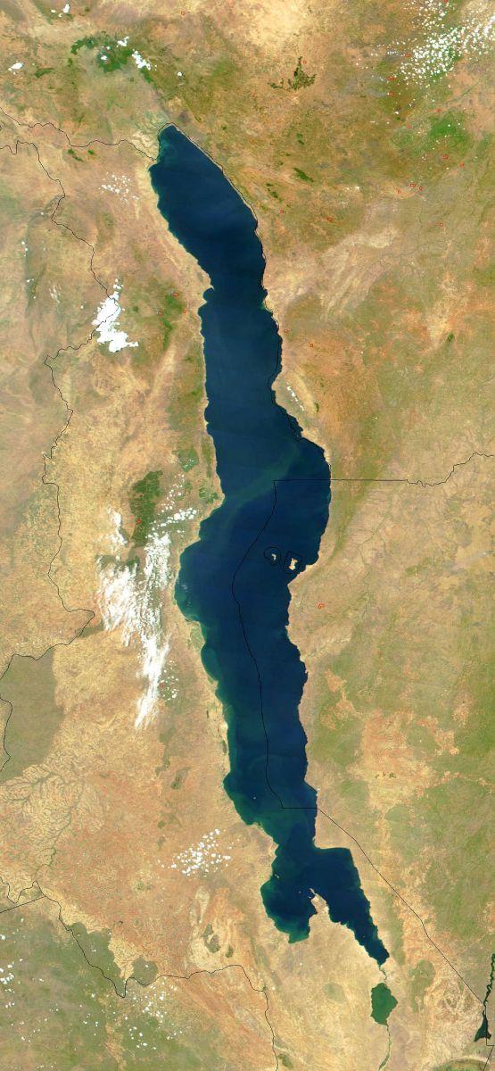 Satelitní snímek jezera Malawi