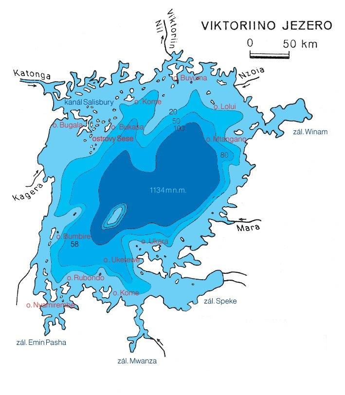 Victoriino jezero - batymetrická mapa