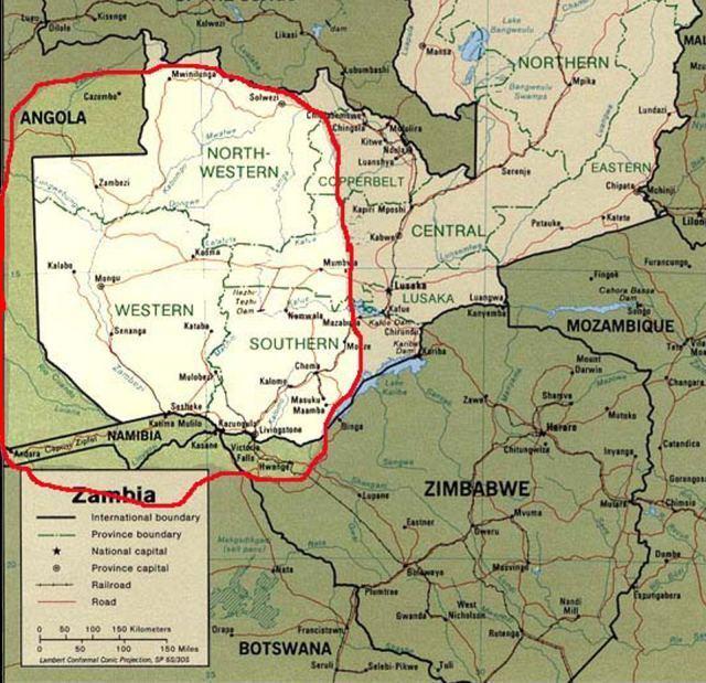 Lozi - mapa území