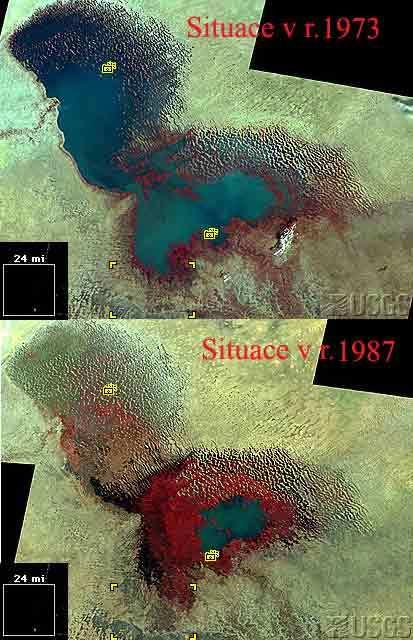 Čadské jezero - vývoj hladiny