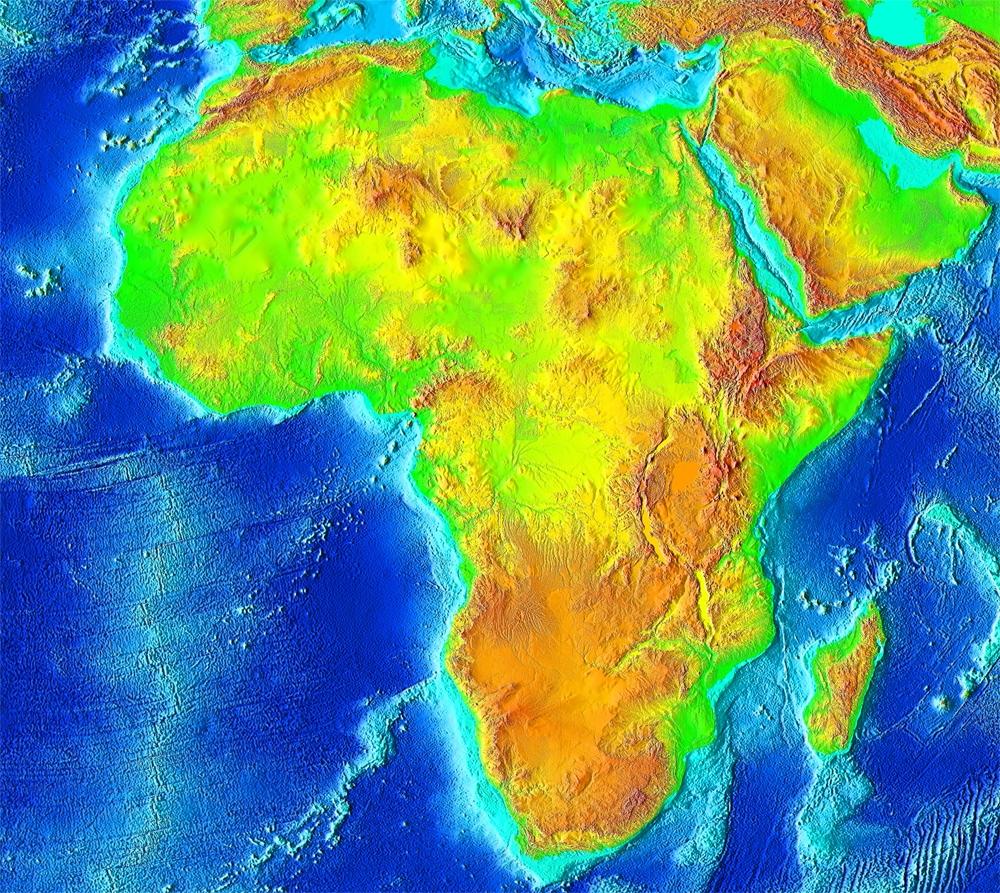 Fyzická mapa Afriky