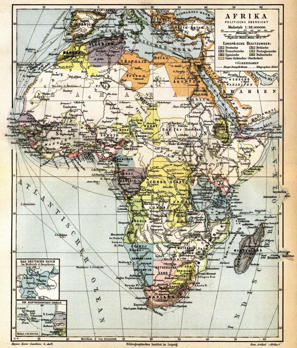 Počátky kolonizace Afriky (r. 1885)