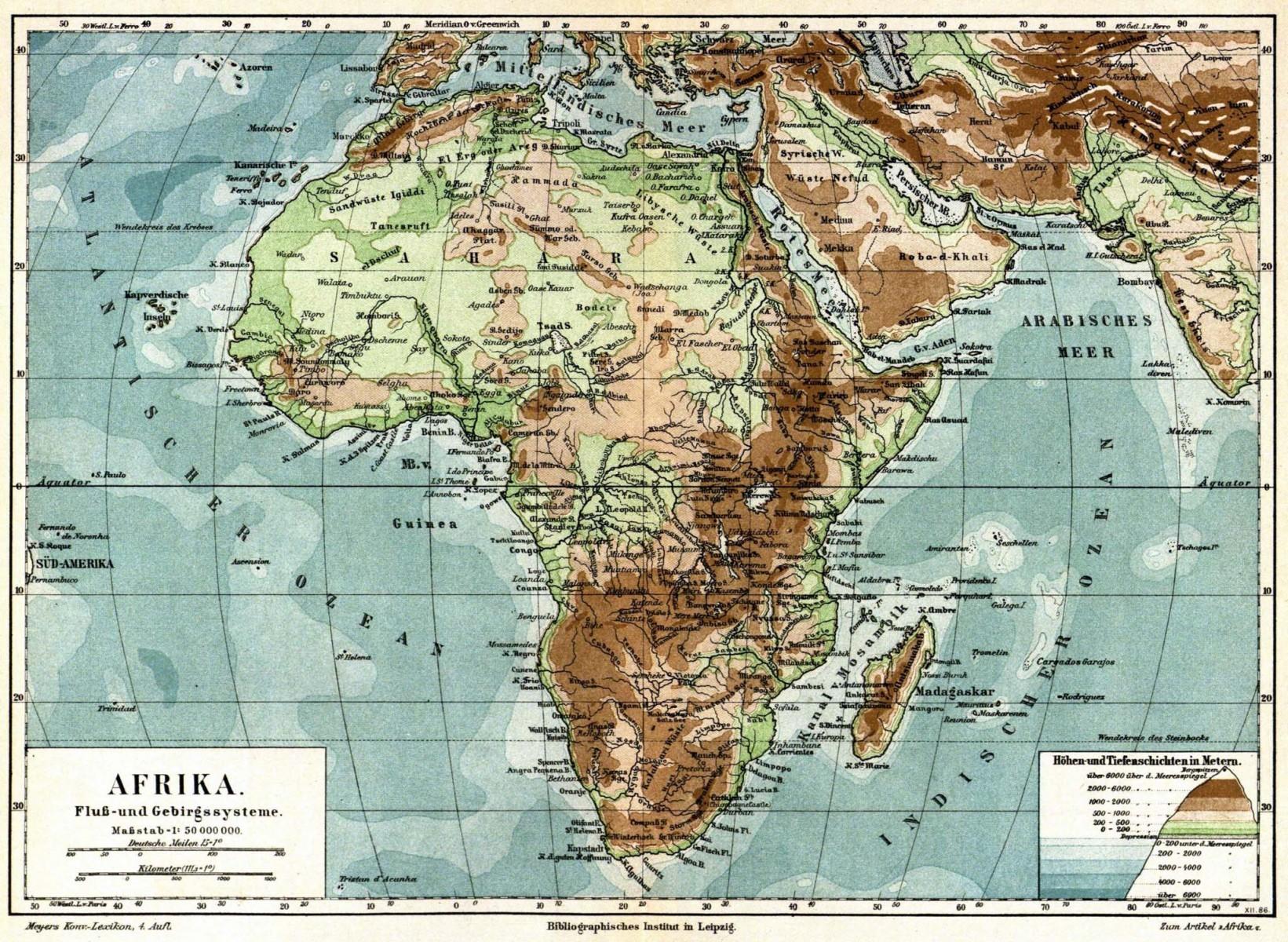 Fyzická mapa Afriky - Meyers