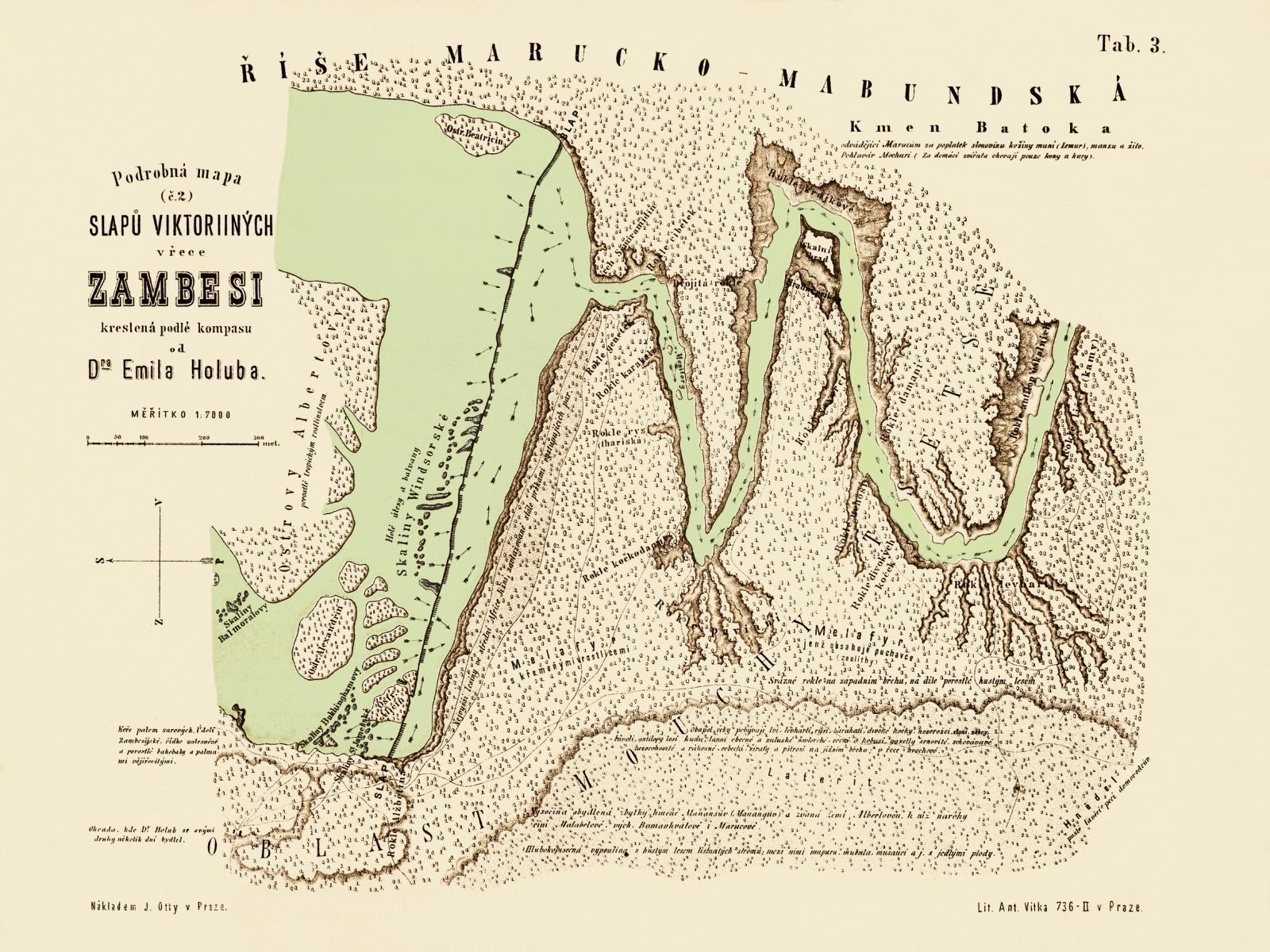 Mapa Zambesi od Emila Holuba
