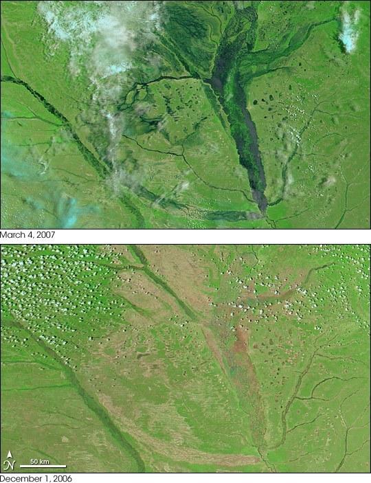 Záplavová pánev na horním toku Zambezi u města Mongu, Zambie (autor: MODIS, NASA)