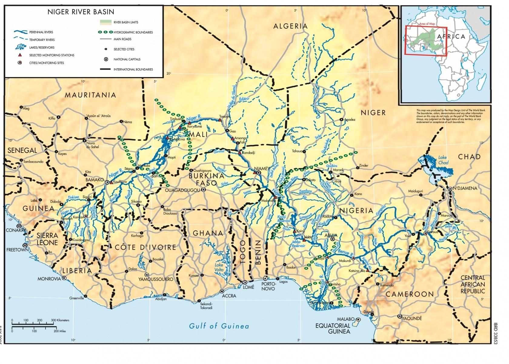 Povodí řeky Niger (Zdroj: Světová banka)