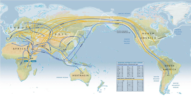 Předpokládané migrační trasy člověka z Afriky