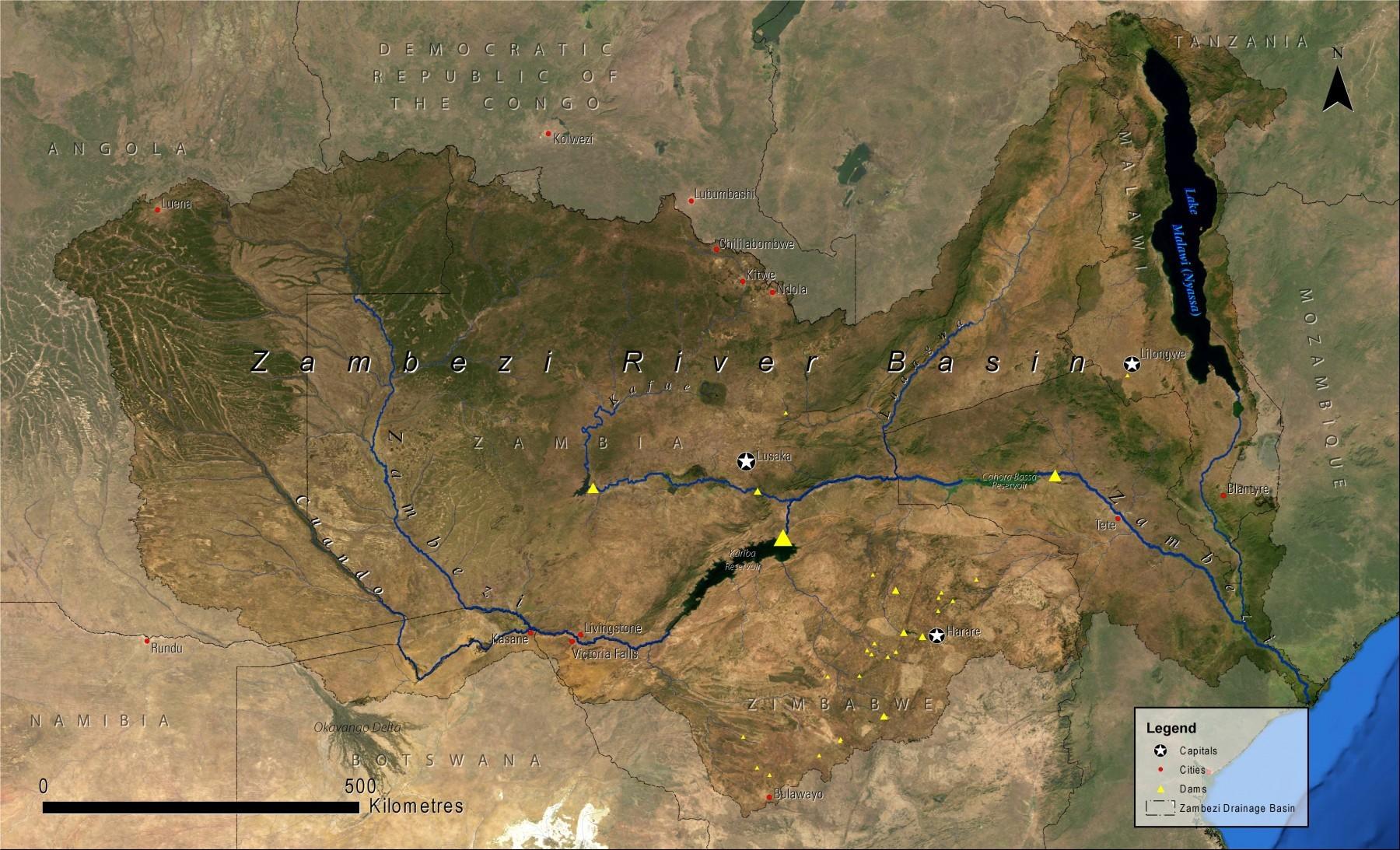 Povodí řeky Zambezi (UNEP)