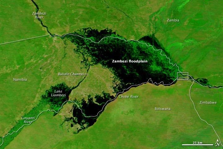Záplavy Zambezi u soutoku s řekou Chobe u Kasane (NASA)