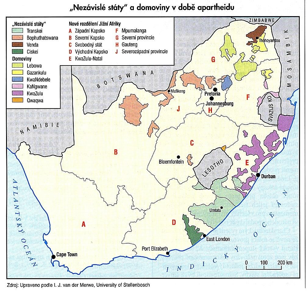 Nezávislé státy a domoviny v době apartheidu v JAR