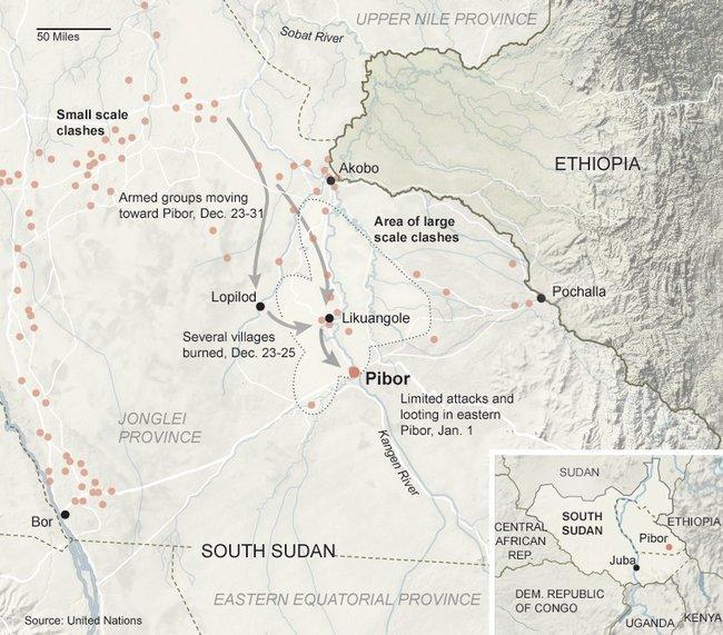 Mapa nájezdů bojovníků národa Lou Nuer na osady národa Murle