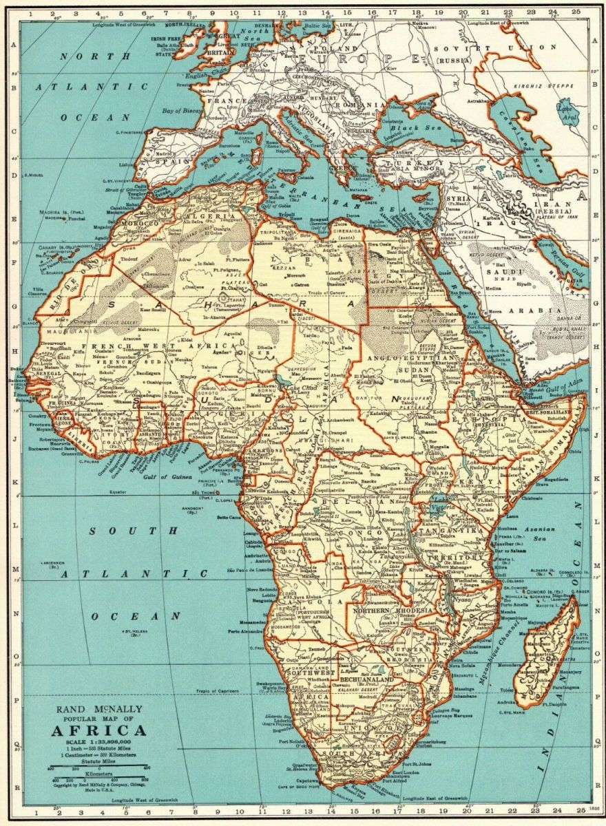 Mapa Afriky r. 1937