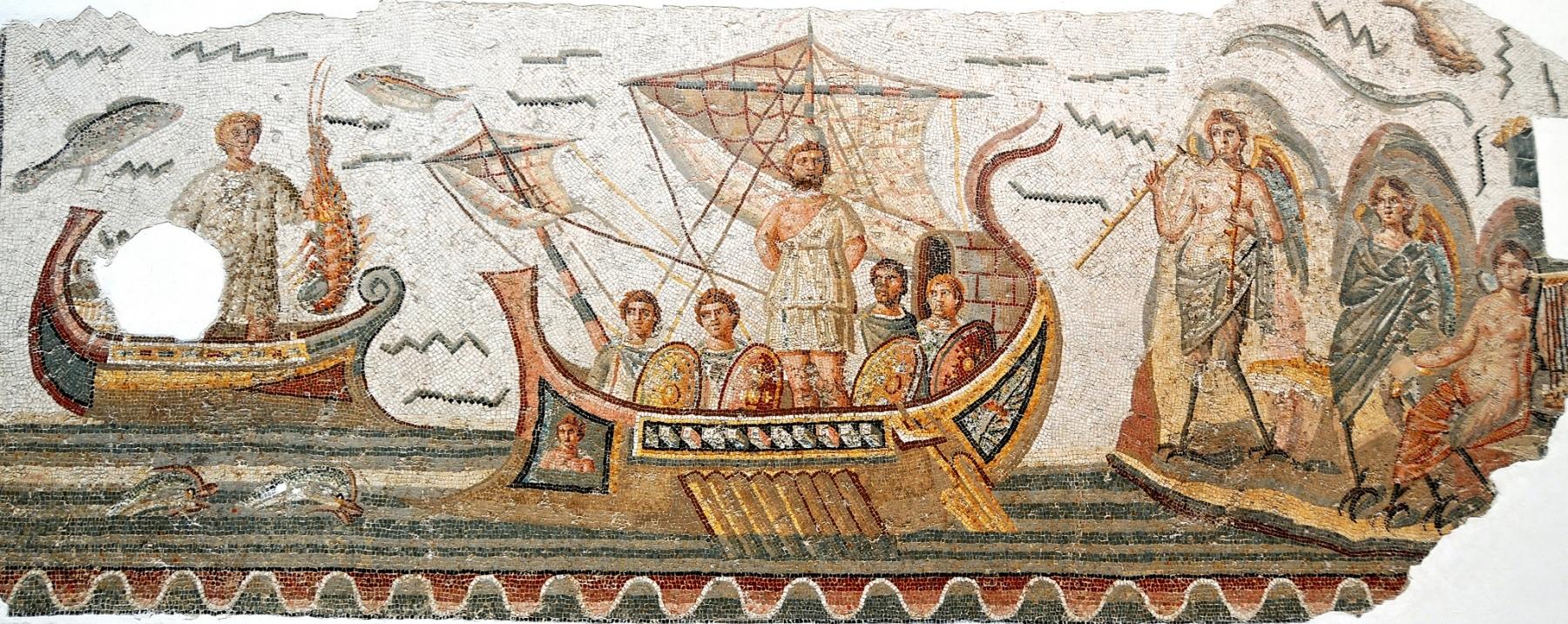 Mozaika plavby Odysea z města Dougga