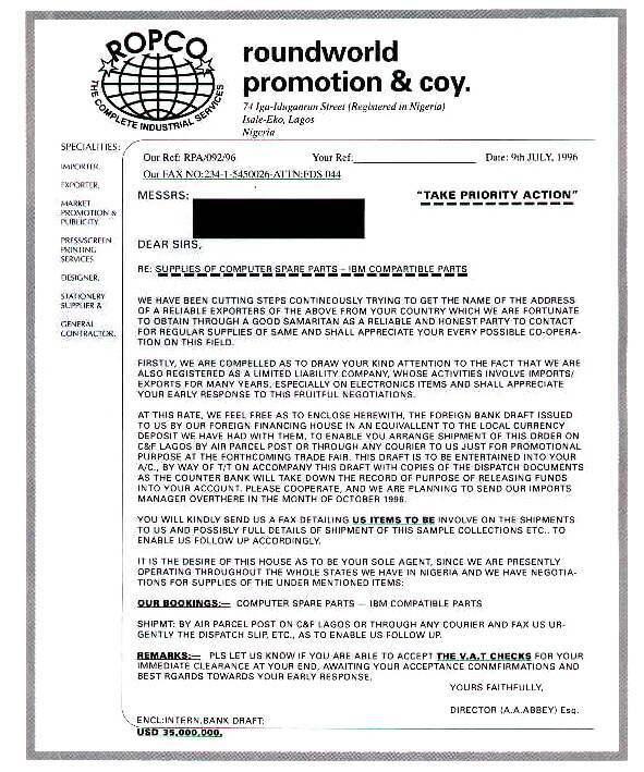 Podvod 419 - kontrakt