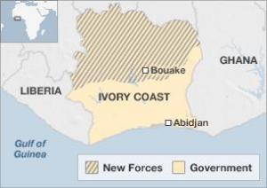 rozdělení země na sever a jih, Pobřeží Slonoviny