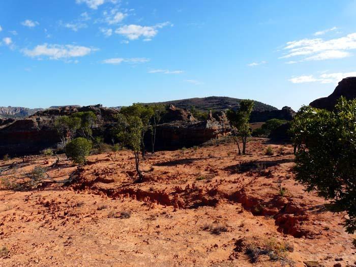 červená půda, Isalo, Madagaskar