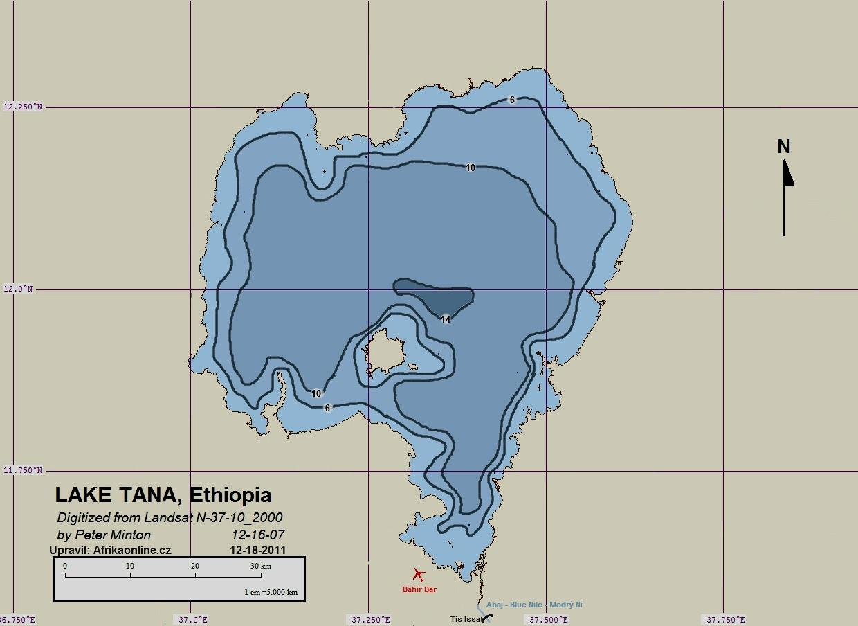 jezero Tana - batymetrická mapa