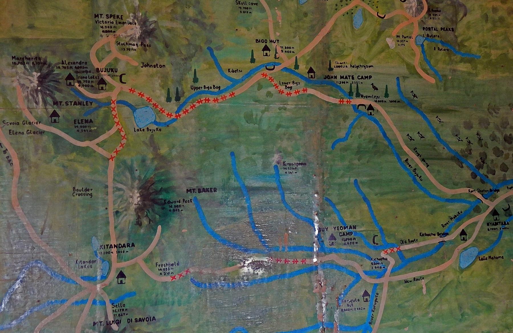 mapa Ruwenzori