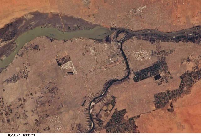 Jebel Aulia - soutok Modrého a Bílého Nilu, Chartúm, Súdán; NASA
