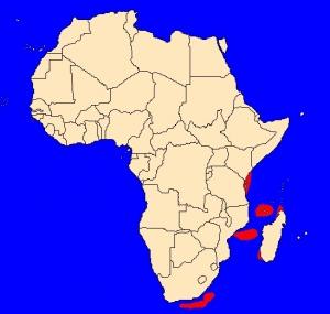 Mapka výskytu latimérie