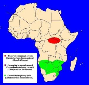 Nosorožec tuponosý (Ceratotherium simum) - rozšíření