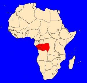 mapka výskytu kobry konžské