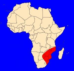 mapka výskytu kobry kroužkované