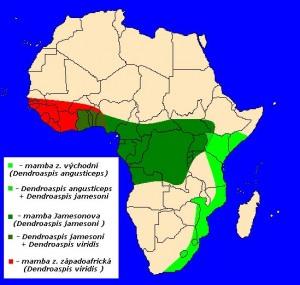 mapka výskytu mamby zelené