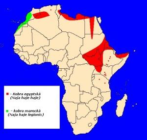 mapka výskytu kobry egyptské