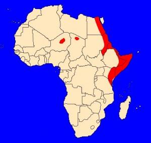 mapka výskytu kobry červené