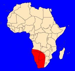 mapka výskytu kobry zebrované