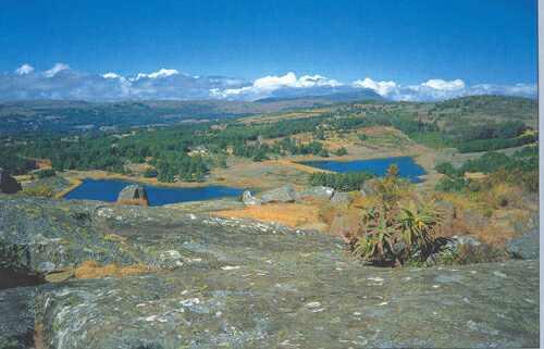 Rozsáhlé žulové pohoří Nyanga