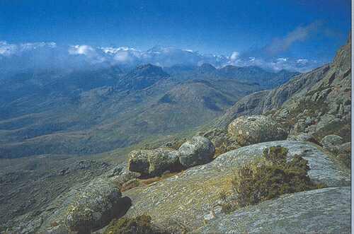 Z vrcholu nejvyšší hory masívu Mulanje, Sapitwi